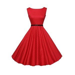 RedPolka Boatneck Vintage Tea Belted Dress